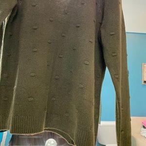 NWOT hunter green knit crew olive sweater shirt